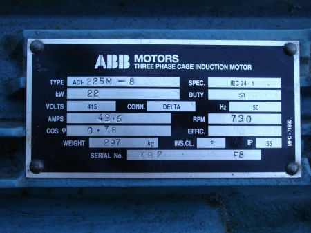 Weg motor nameplate for Abb electric motor catalogue