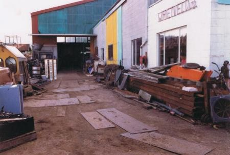 Stone street yard in 1984, notice the yard is just dirt with steel plates to drive on