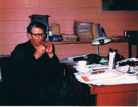 Bill hard at work in the office. 1982