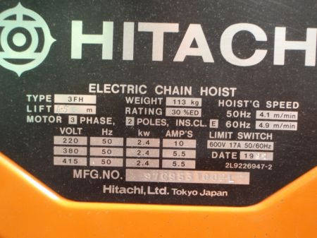 Hitachi 3 Ton Hoist W Rietveld Ltd